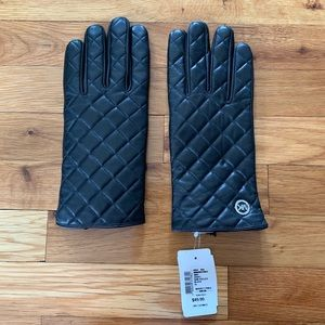 Michael Kors Black Leather Gloves - Size XL